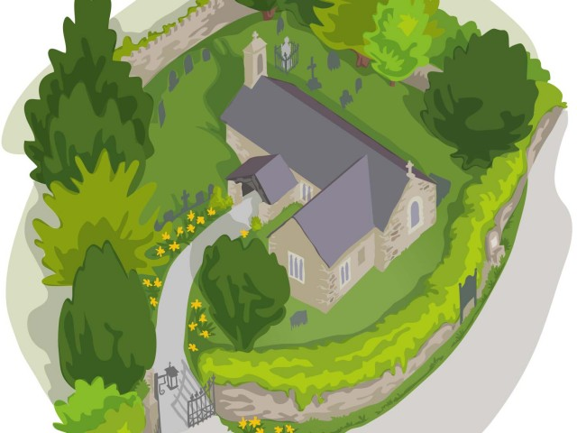 Churchyard Aerial View Illustrations