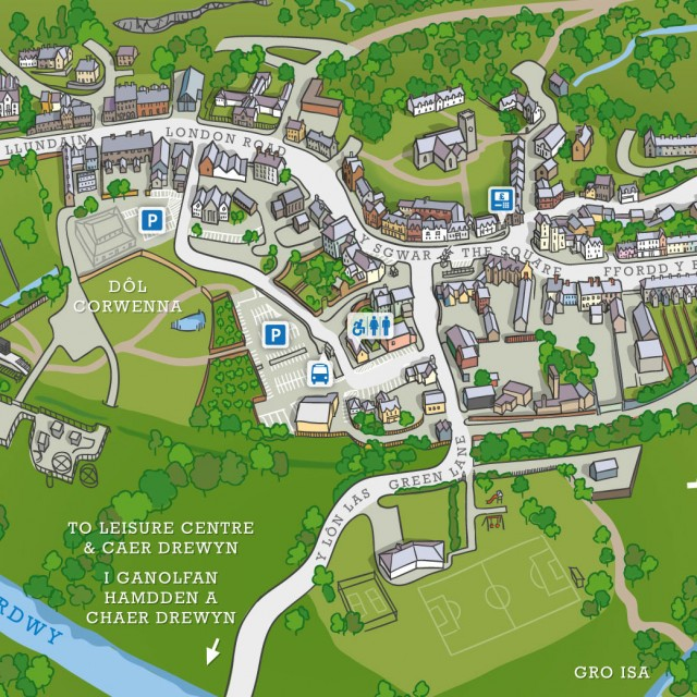 Aerial illustrated map of Corwen